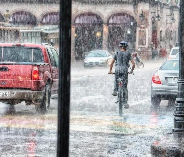 rain and person on bike